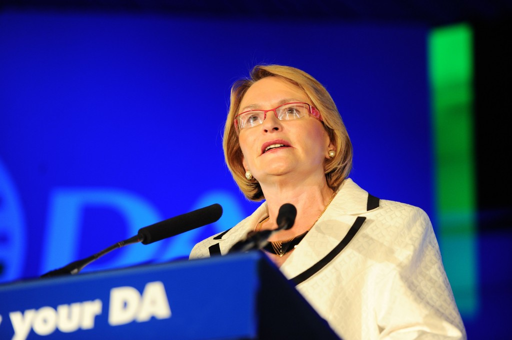 FILE PIC - Democratic Alliance leader Helen Zille addresses supporters, 13 April 2013, in Alexandra, at the launch of the Know Your DA campaign. Picture: Michel Bega