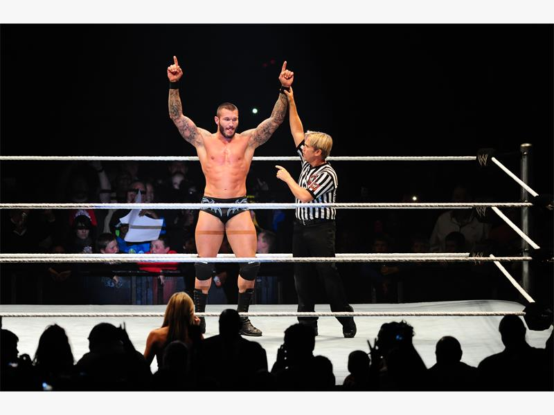 Randy Orton is proclaimed the winner of his match during the WWE Live event at the Coca Cola Dome on Friday night, 2 August 2013. Picture - Neil McCartney