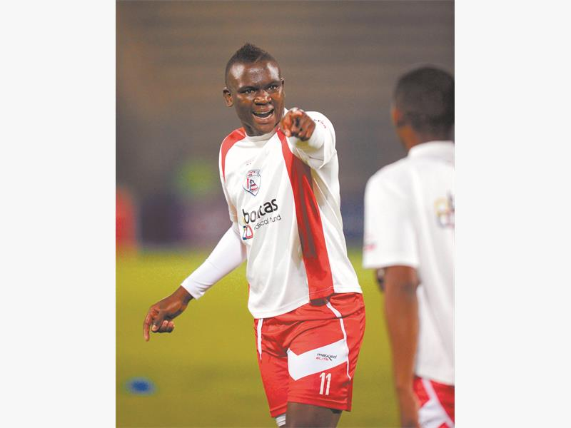 Luyolo Nomandela of Free State Stars during the Absa Premiership match between Supersport United and Free State Stars on the 03 August 2013 at Lucas Moripe Stadium   ©Sydney Mahlangu /BackpagePix