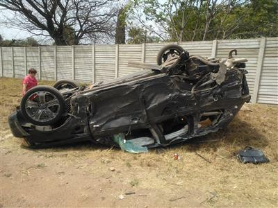 his vehicle landed on its roof after the accident.  Image courtesy CNS