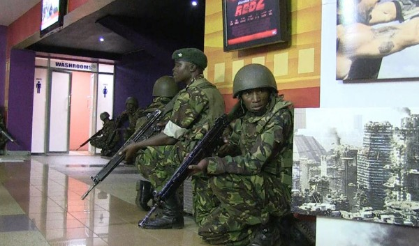 An image grab taken from AFP TV shows military forces taking position inside a shopping mall following an attack by masked gunmen in Nairobi on September 21, 2013. AFP PHOTO/AFPTV/NICHOLE SOBECKI