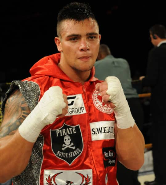 JOHANNESBURG, SOUTH AFRICA - FEBRUARY 16, Kevin Lerena during the Cruiserweight bout between Kevin Lerena (silver and red trunks) and Javier Corrales (red trunks) at Emperor's Palace on February 16, 2013 in Johannesburg, South Africa.Photo by Lee Warren / Gallo Images