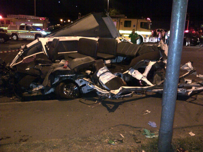 The remains of a taxi involved in the Pinetown collision. At least 24 people have been killed and 26 others sustained several injuries when an articulated truck collided with four fully laden taxis and a light motor vehicle on the corners of Fieldshill (M13) and Richmond Road in Pinetown this evening, 5 September 2013 The incident that occurred shortly before 19:00 had paramedics shocked when they arrived on scene and found people and debris scattered across the scene. Bystanders were flagging paramedics down and pointing in all directions where patients were strewn across the incident. Picture ER24