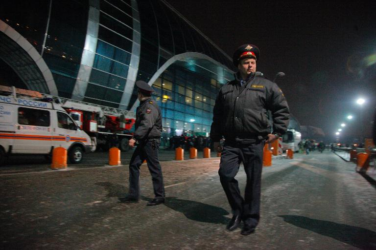 Russian police on patrol after a suicide bomb attack outside Moscow's Domodedovo international airport, on January 24, 2011