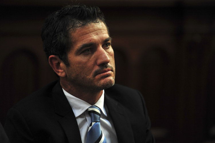 Former Springbok rugby player Joost van der Westhuizen in the North Gauteng High Court on 1 October 2013 where they wanted to submit an application to prevent the publication of a book about his marriage to Amor Vittone. Picture: Christine Vermooten