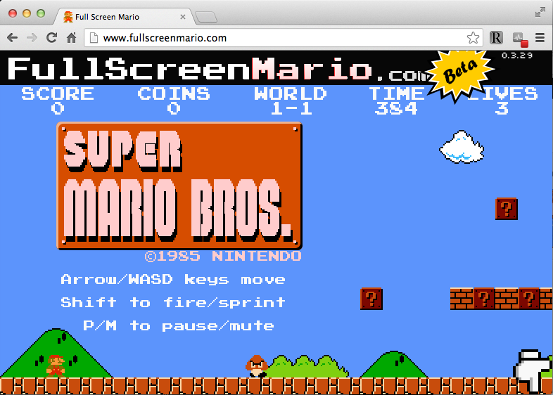A screengrab from the Super Mario Bros game