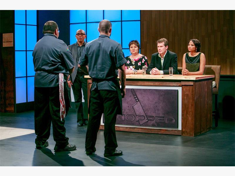 JUDGING PANEL Judges Jenny Morris, David van Staden and Siba Mtongana on the set of Chopped SA. Pictures: Supplied.