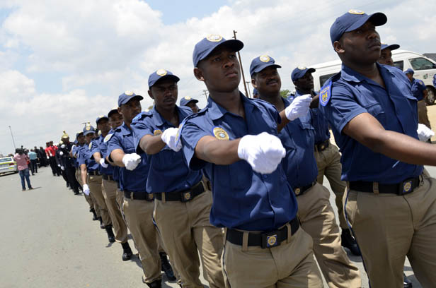 FILE PICTURE: Metropolitan Police Department officers march in unison. Picture: Alaister Russell