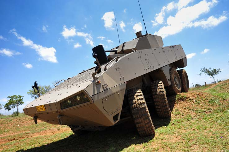 A Badger infantry combat vehicle gives a demonstration of the vehicle's mobility on 19 November at the launch of the Badger at Denel Land Systems in Pretoria. The New Badger will be replacing the Ratel combat vehicle by October 2015. Denel Land Systems, the developer of the vehicle, said at a media briefing yesterday that the South African National Defence Force will have a full Badger fleet by 2022.  Picture: Christine Vermooten