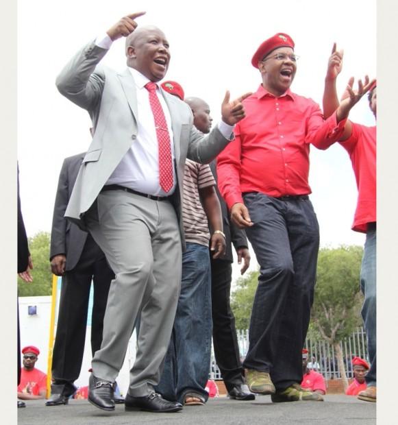 File photo: EFF leader, Julius Malema dancing while singing revolutionary songs with Adv Dali Mpofu. Picture: Nyambeni Mandiwana.