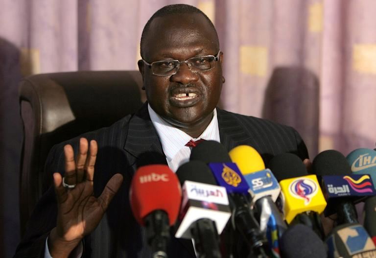 File picture taken on May 30, 2011 shows South Sudan's vice president Riek Machar during a press conference in Khartoum