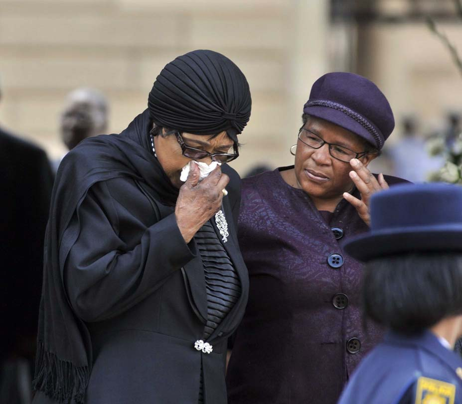 FILE PICTURE: Winnie Madikizela-Mandela in tears after viewing the body of her ex-husband, former President Nelson Mandela lying in state at the newly renamed Nelson Mandela Amphitheatre at the Union buildings in Pretoria. 11/12/2013. Picture: GCIS.