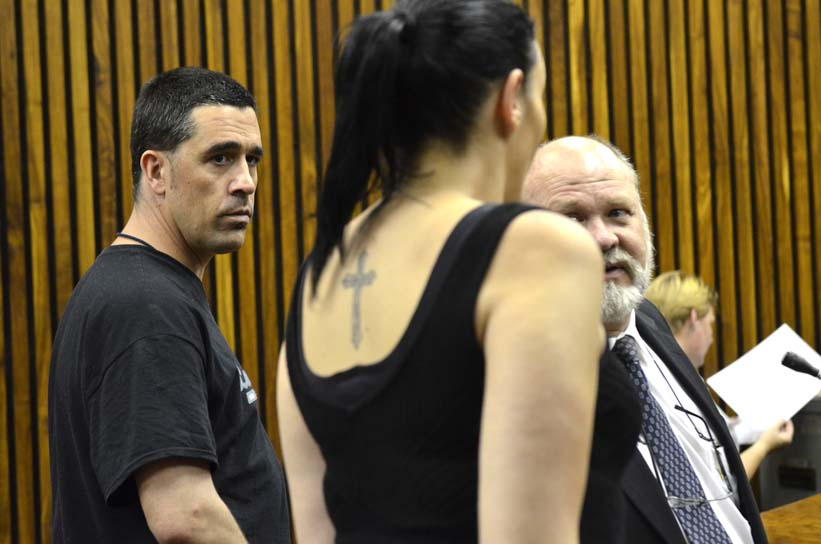 FILE PICTURE: (From Left) Jean-Pierre Malan and Maruschka Robinson appear at the Randburg Magistrates court, 16 January 2014, in connection with the murder of Dustan Blom whose body was found in the boot of a car in Montecasino, Fourways. Picture: Alaister Russell