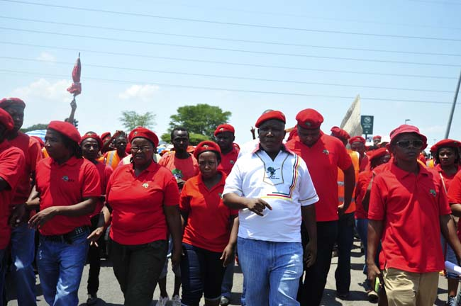 Julius Malema the leader of the Economic Freedom Fighters leads a march in Brits on 24 January 2014  in solidarity with Mothutlung residents in their fight for water. Picture: Christine Vermooten
