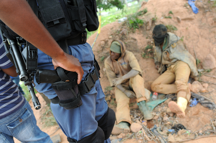 FILE PICTURE: Illegal miners seen after emerging from a hole in the ground. Picture: Alaister Russell