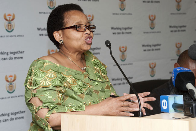 FILE PICTURE: Lulu Xingwana, the  Minister of Women, Children and People with Disabilities speaks at a media briefing in Pretoria about gender violence. Picture: Christine Vermooten