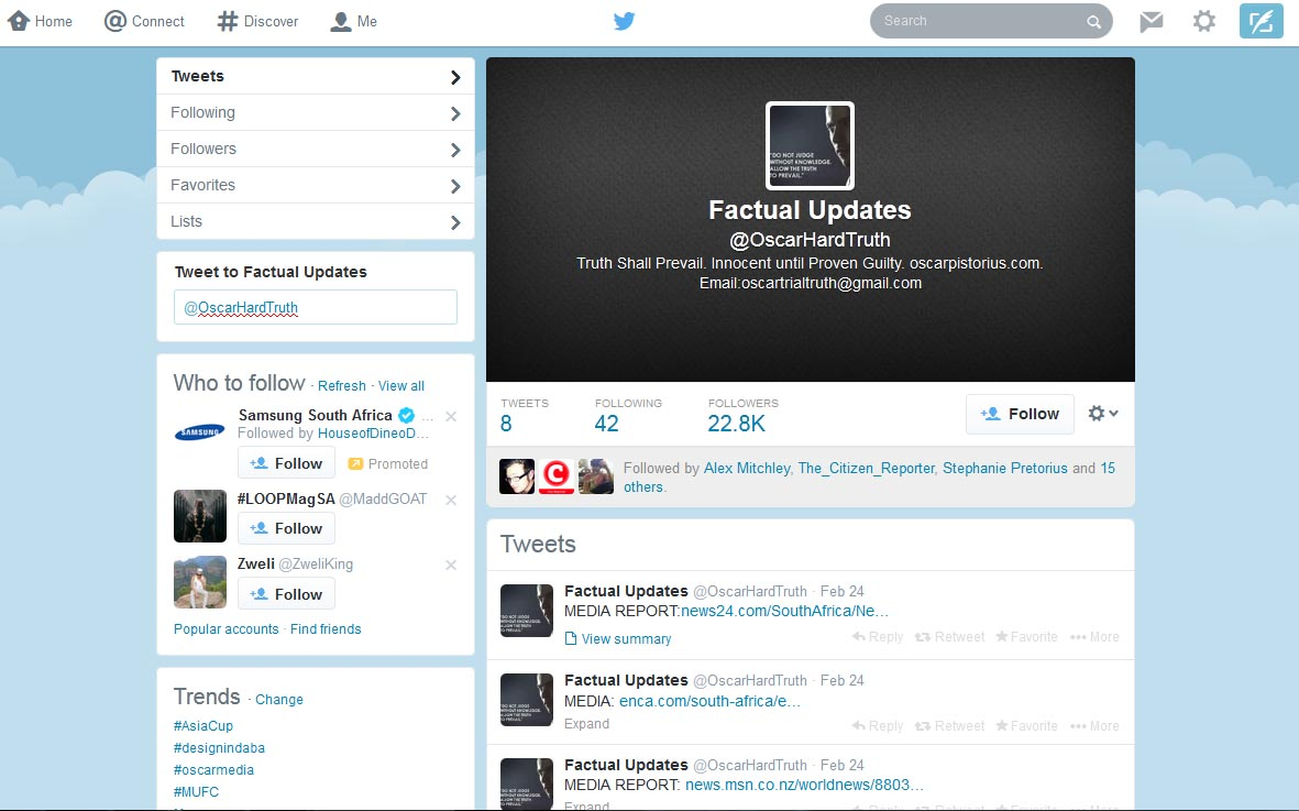 Oscar Pistorius's media management team twitter page. Image courtesy: Print Screen.