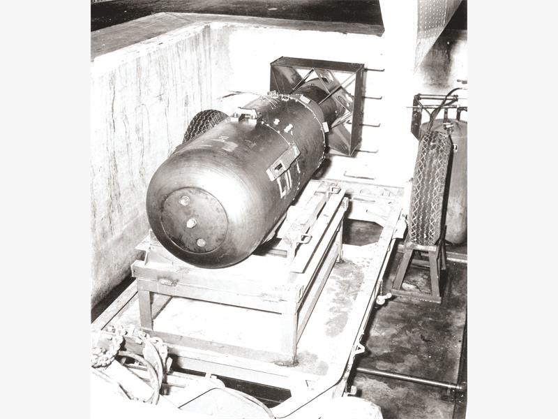 """DESTRUCTIVE FORCE. The first atomic bomb, nicknamed """"Little Boy."""" Picture: Supplied."""