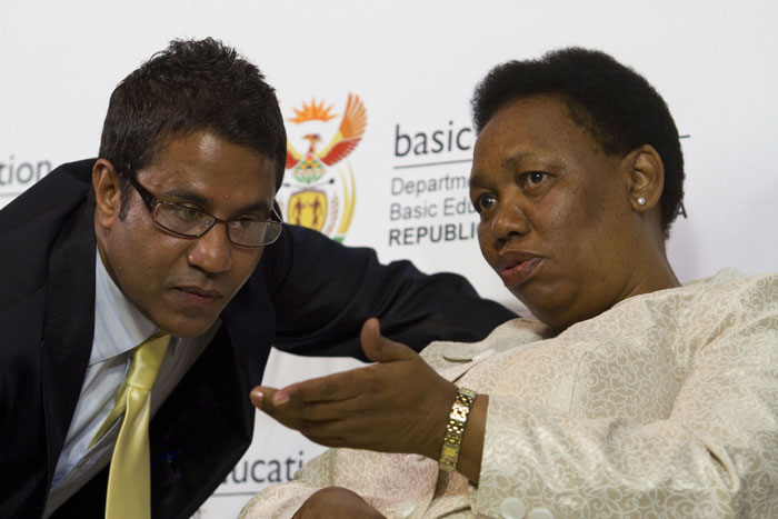FILE PICTURE: Basic Education Director General Bobby Soobrayan speaks with Minister Angie Motshekga. Picture: Sabrina Dean.