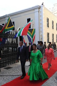 Deputy President Kgalema Motlanthe with Ms Nomaindia Mfeko, Deputy Speaker of Parliament's National Assembly accompanied by his partner Ms Gugu Mtshali and Ms Thandi Memela, Deputy Chairperson of NCOP arriving at the Parliament. President Jacob Zuma willl be delivering his last State of the Nation Address to a joint sitting of the two houses, Cape Town. Picture: GCIS.