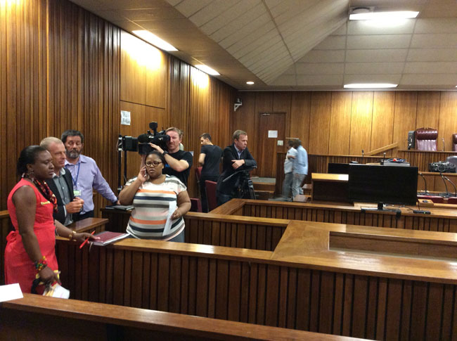 FILE PHOTO: The lead prosecutor in the Oscar Pistorius trial, Gerrie Nel (second from left) preparing for the Oscar Pistorius trial with Department of Justice officials and media representatives. Picture supplied 28 February 2014