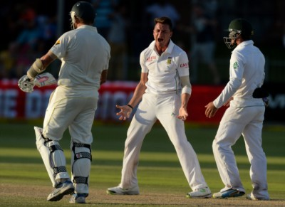 FILE PICTURE: Dale Steyn of South Africa celebrates the wicket of Ryan Harris during day 4 of the 2nd Test match between South Africa and Australia at AXXESS St Georges on February 23, 2014 in Port Elizabeth, South Africa. (Photo by Duif du Toit/Gallo Images)