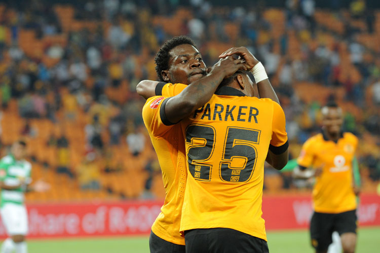 Kaizer Chiefs' forward Bernard Parker is embraced by Kingston Nkhatha after scoring a goal during a Premier Soccer League match between Kaizer Chiefs and Bloemfontein Celtics at FNB Stadium in Soweto, 19 February 2014. Picture: Refilwe Modise
