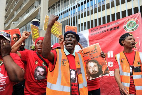 Members of the Food and Allied Workers Union (Fawu) Picture: Michel Bega