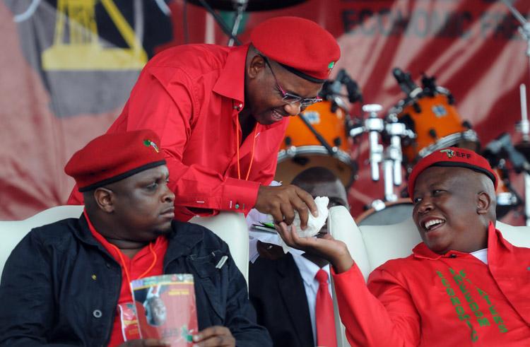 FILE PICTURE: EFF political commissar Floyd Shivambu (L), Advocate Dali Mpofu  and  EFF leader Julius Malema at Mehlareng Stadium in Tembisa in Johannesburg, 21 February 2014, to launch of 2014 election manifesto. Picture: Nigel Sibanda
