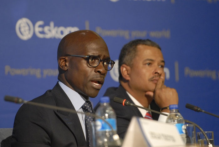 FILE PICTURE: Public Enterprises Minister Malusi Gigaba and Eskom CEO Brian Dames speak at Eskom's state of the system briefing at Megawatt Park, on 25 February 2014. Picture: Tracy Lee Stark.
