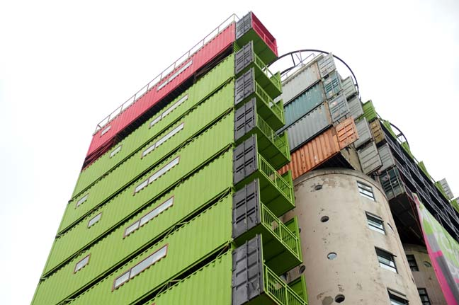 The finishing touches are being done on the Mill Junction, Newtown, Johannesburg 5 February 2014. The containers that were placed on old grain silos are being occupied by students and will officially launch next week.  Picture: Tracy Lee Stark