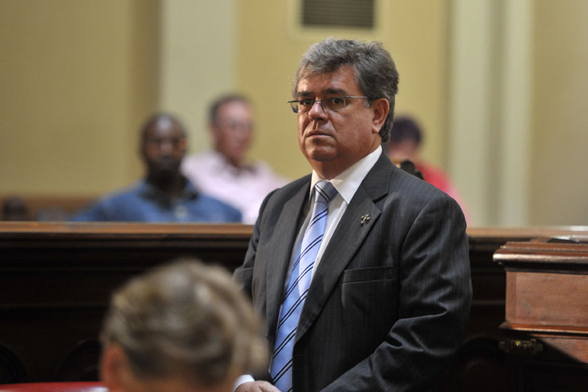 Carte Blanche's executive producer George Mazarakis at the broadcast trial of Oscar Pistorius ruling on 25 February 2014 at the North Gauteng High Court. Picture: Christine Vermooten