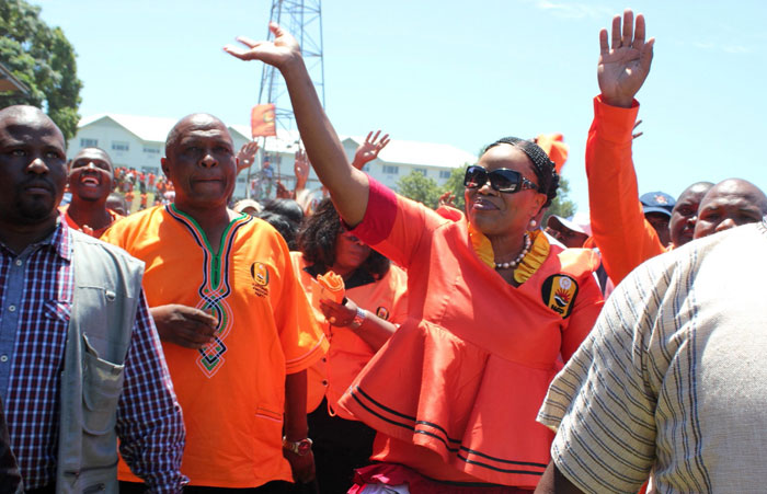 NFP leader Zanele KaMagwaza accompanied by her husband at the party's launch of its party manifesto for the 2014 general election.
