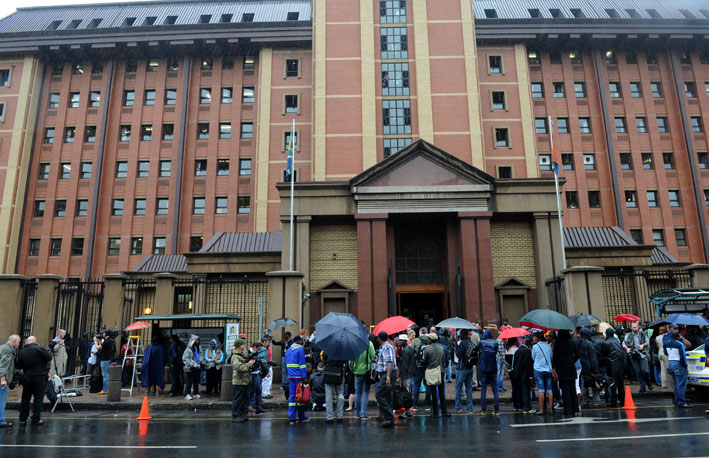 FILE PICTURE: Journalists gather ahead of the Oscar Pistorius murder trial. Picture: SAPA