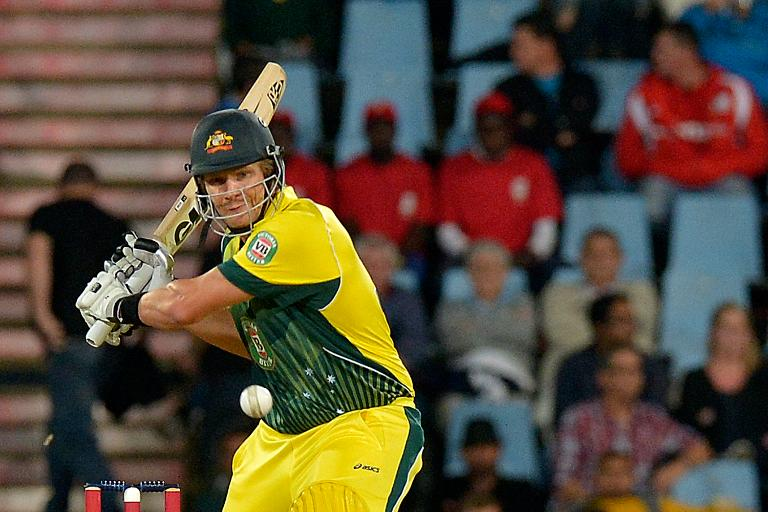 Australia's batsman Shane Watson plays a shot during the Twenty20 cricket match against South Africa at the SuperSport Park in Centurion, on March 14, 2014