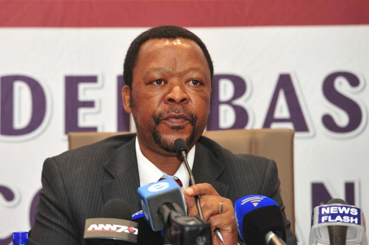 Director-General of Social Development, Mr Coceko Pakade speaks at a media briefing on on 25 March 2014 in Pretoria about a call centre dealing with gender-based violence. Picture: Christine Vermooten
