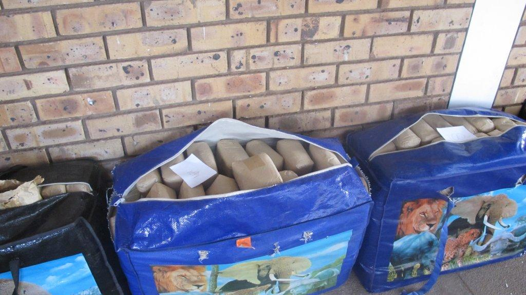 Several bags of dagga confiscated.  Image supplied.