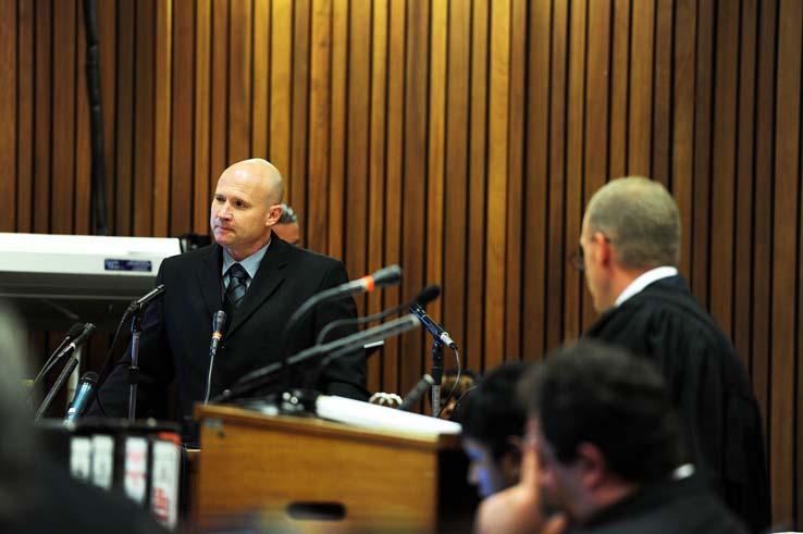 Blood splatter expert Ian van der Nest testifies during the Oscar Pistoruis murder trial at the high court in Pretoria, Wednesday, 19 March 2014.  Picture: Leon Sadiki/Citypress/Pool
