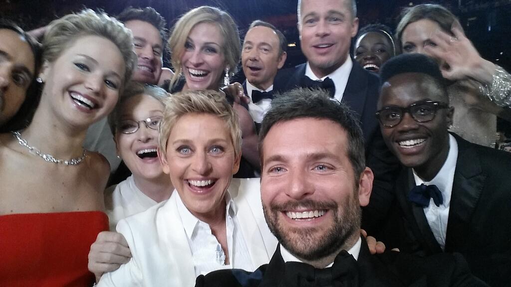 Ellen DeGeneres's 'biggest selfie ever' at the Oscars goes viral.