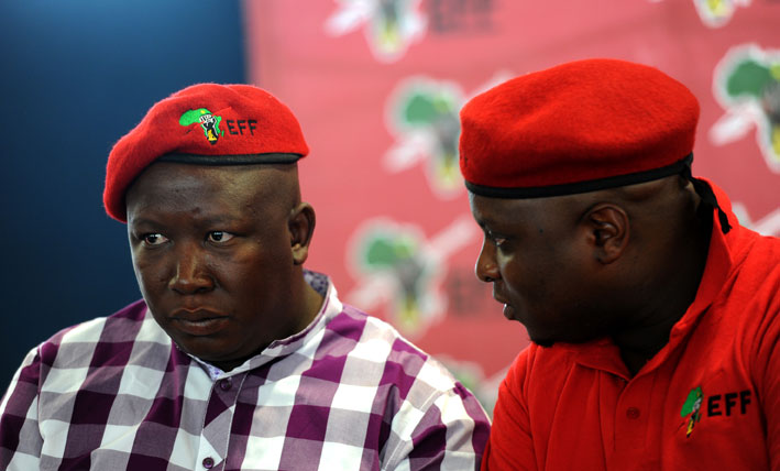 FILE PICTURE: Julius Malema, leader of the Economic Freedom Fighters, is seen with Floyd Shivambu. Picture: Werner Beukes/SAPA