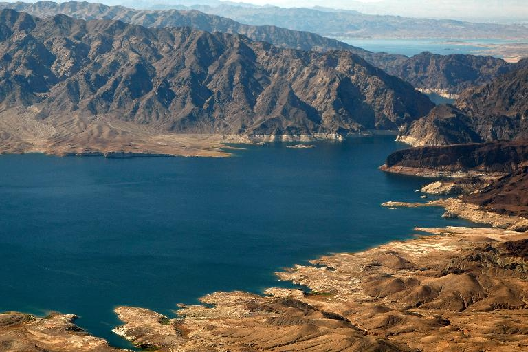 An aerial view of Lake Mead, Nevada, on November 6, 2008