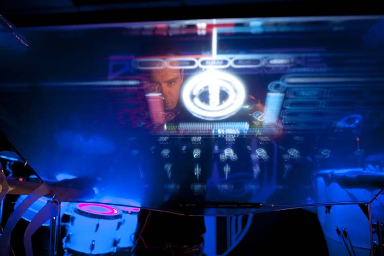 Shannon Ellinas has designed an interactive DJ and drumming set-up that allows Electronic Dance Music practitioners to become eye-catching performers. Picture: William Esposito