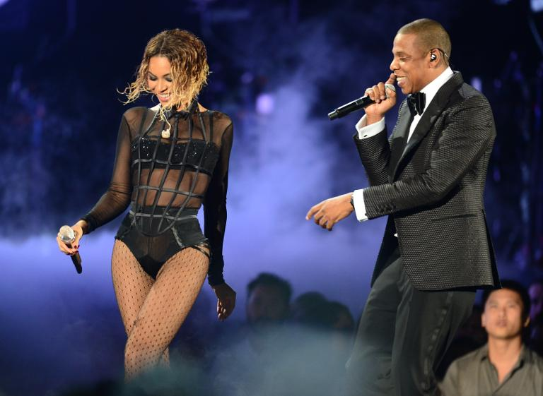 Beyonce and Jay-Z perform for the 56th Grammy Awards at the Staples Center in Los Angeles, California, on January 26, 2014