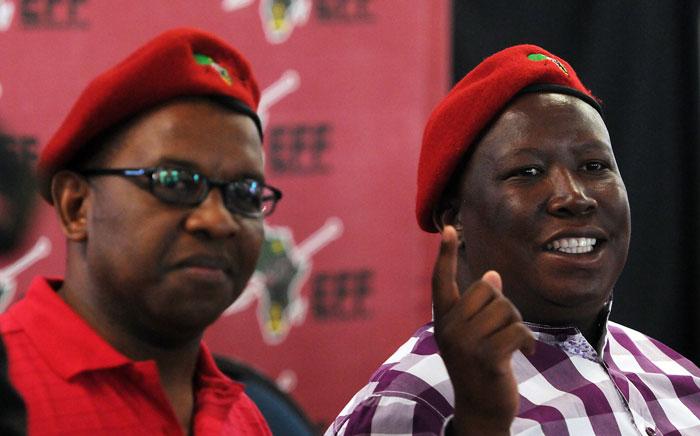 EFF premier candidate Dali Mpofu (L) and EFF leader Julius Malema. Picture: Nigel Sibanda