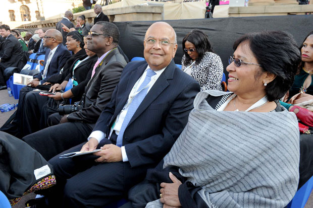 Minister of Finance Pravin Gordhan and his partner at the 2014 Presidential Inauguration in the Nelson Mandela Amphitheatre at the Union Buildings, Pretoria. (Photo: GCIS)