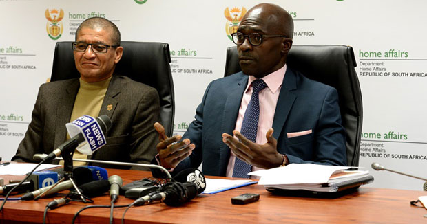 FILE PICTURE: Home Affairs Minister Malusi Gigaba with Deputy Director General for Immigration Jackson Mackay, briefs media on the new immigration regulations. Picture: GCIS