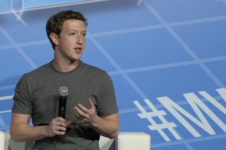 In this February 24, 2014 photo Facebook's billionaire creator Mark Zuckerberg speaks on the opening day of the Mobile World Congress in Barcelona
