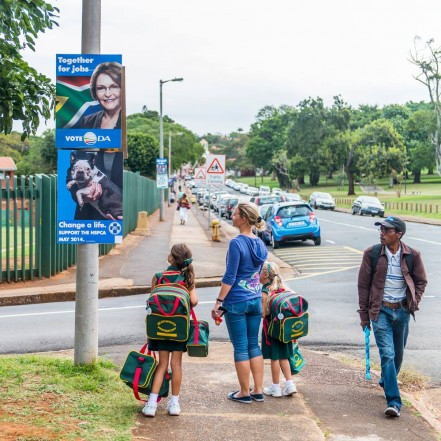 Pedestrians look at the NSPCA 'election poster' that was put up in Durban on Tuesday. Image courtesy facebook.com/NSPCA