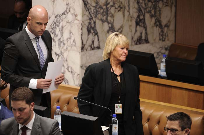 DA member of parliament Glynnis Breytenbach walks in to be sworn in during the first sitting of the 5th democratic parliament in Cape Town, 21 May 2014. Picture: Refilwe Modise