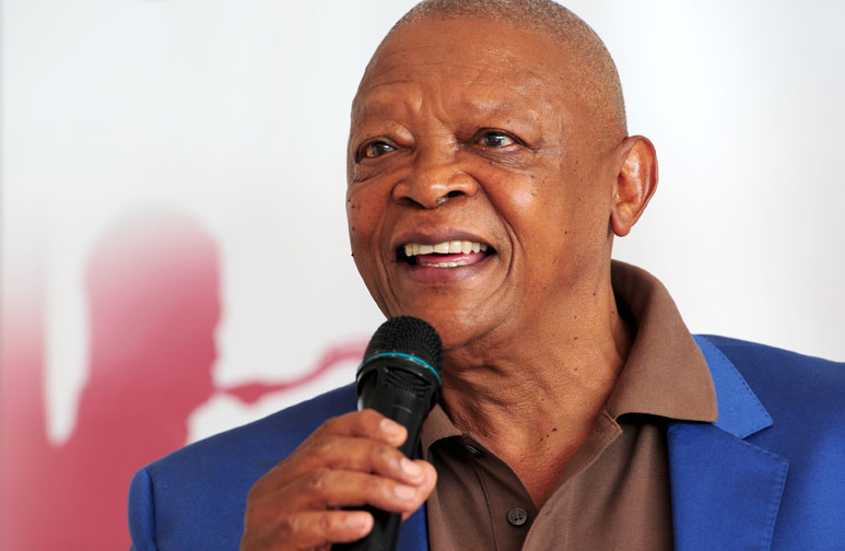 FILE PIC: Hugh Masekela, speaks at a special event to give congratulations to Lira and MiCasa on being invited to perform at President Obama's inaugural ball, as well as to himself on being nominated for his second Grammy Award. 16 January 2013.  Picture: Tracy Lee Stark